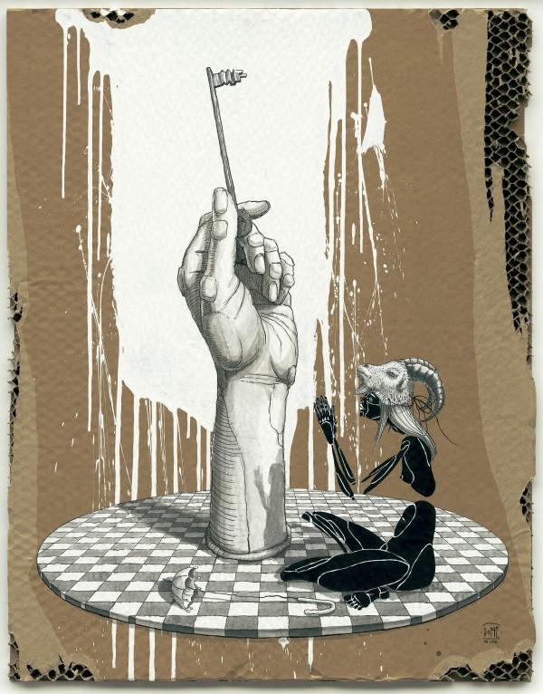 ציור מודרני של אישה יושבת ויד עם מפתח